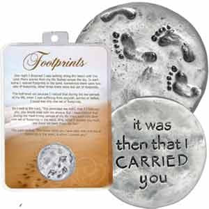 Footprints In The Sand Pewter Token with Card - Keepsake-Memorials