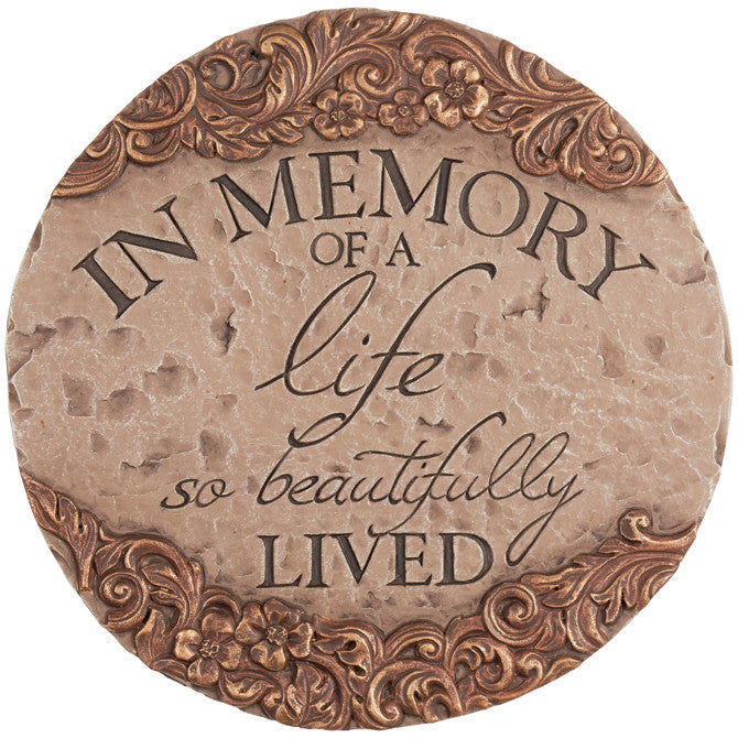 "Decorative Garden Stepping Stone - ""In Memory"" - Keepsake-Memorials"