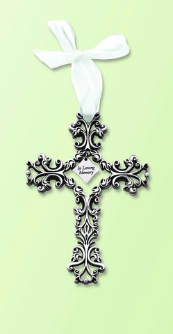 "Filigree Memorial Wall Cross 5"" - In Loving Memory - Keepsake-Memorials"
