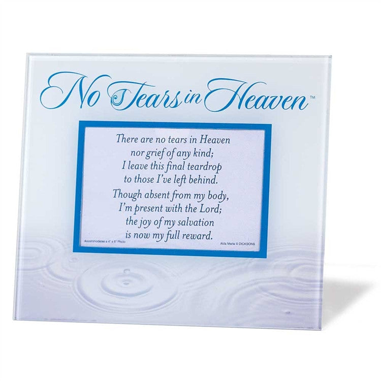Memorial Glass Photo Frame-No Tears in Heaven - Keepsake-Memorials