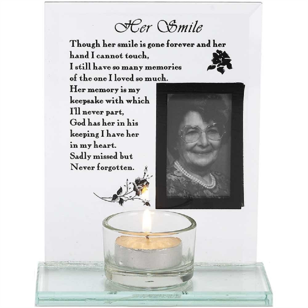 "Her Smile Glass Tea Light Holder Memorial Frame 6"" - Keepsake-Memorials"