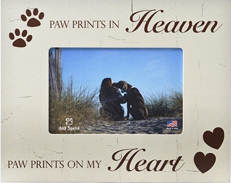 "Paw Prints In Heaven 7.5"" x 9.5"" Pet Picture Frame - Keepsake-Memorials"