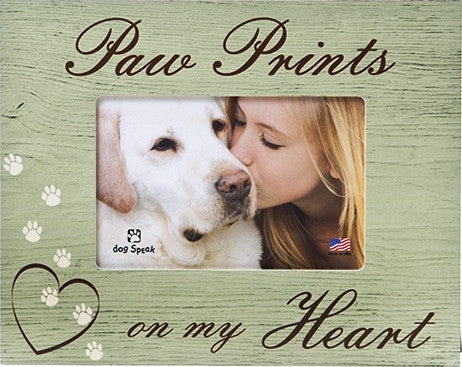 "Paw Prints on my Heart 7.5"" x 9.5"" Picture Frame - Keepsake-Memorials"
