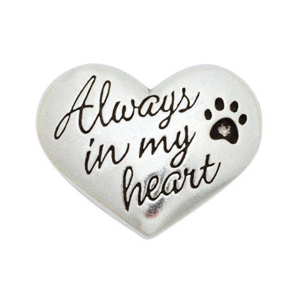 Pewter Heart With Paw Print Pocket Reminder - Always In My Heart - Keepsake-Memorials