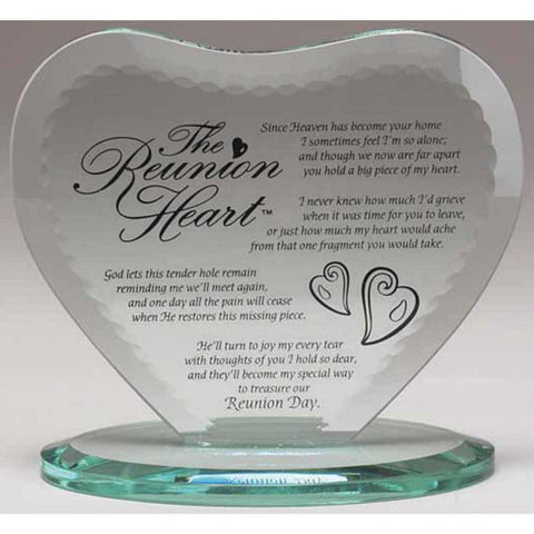 The Reunion Heart Glass Plaque With Base - Keepsake-Memorials