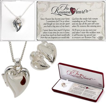 "Reunion Heart Locket - Silver Plated 24"" - Keepsake-Memorials"