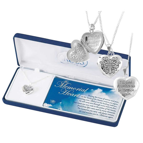 Memorial Heart Locket-21 inch chain - Keepsake-Memorials