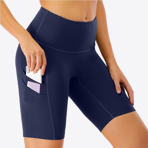 YOGA POCKETED HIGH RISE BIKER SHORTS