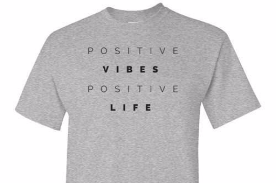 Positive Vibes Positive Life Grey Tee