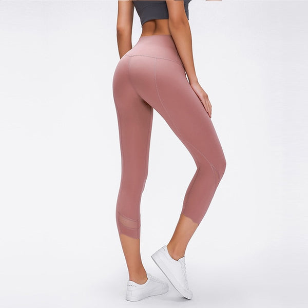 WORKOUT CROPPED HIGH RISE CAMO MESH LEGGINGS