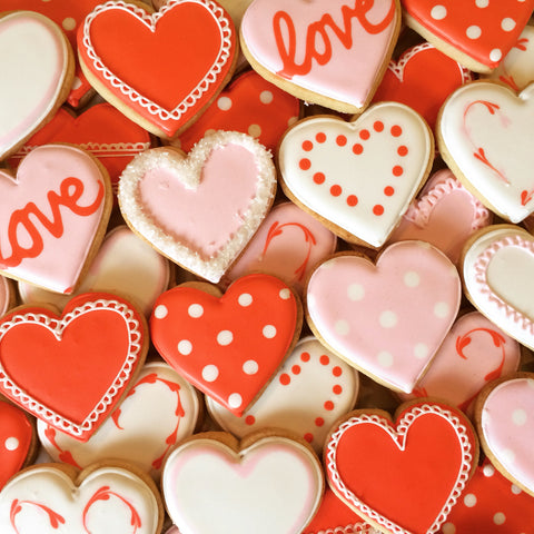 Valentine's Day - Decorated Cookies: A Dozen Assorted Hearts