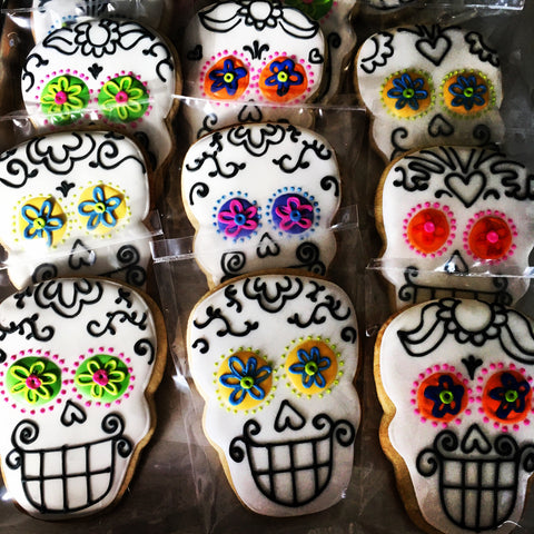 Decorated Cookie - Halloween - One Set of (8) Sugar Skulls