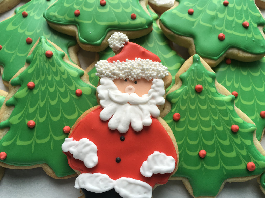 Decorated Cookie - Christmas - Santa and Trees