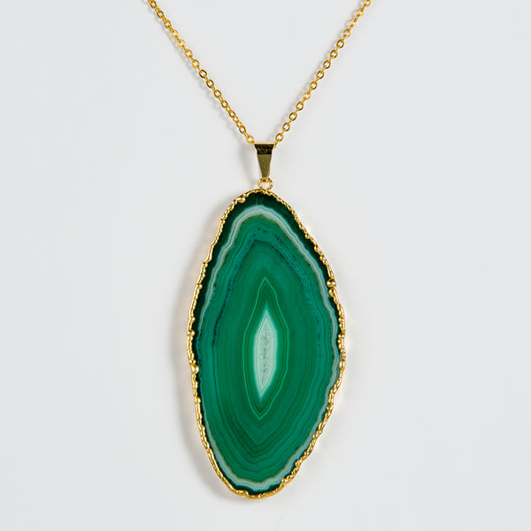 Necklace Green Agate Gold