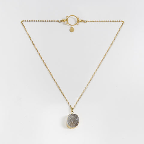Necklace Druzy Grey Ash