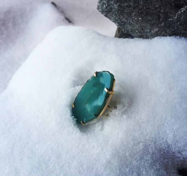 Ring Saudade Green Agate