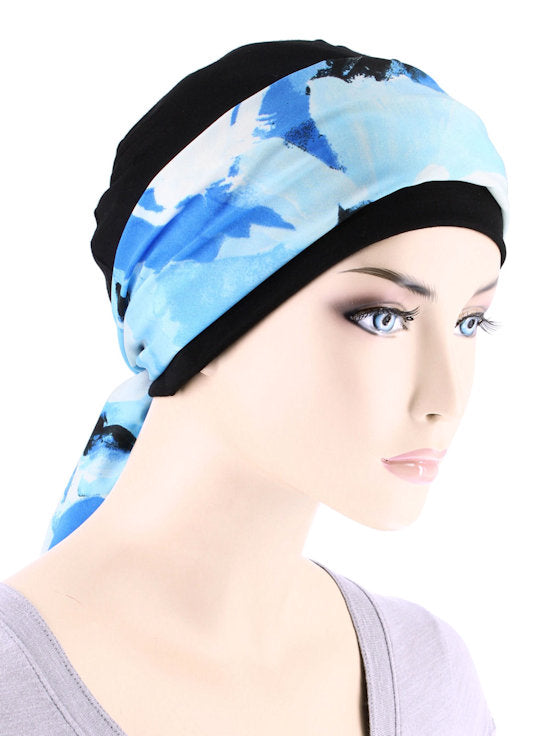 CE-CAPSASH-808#Black Chemo Cap with Brushed Ocean Blue Print Sash
