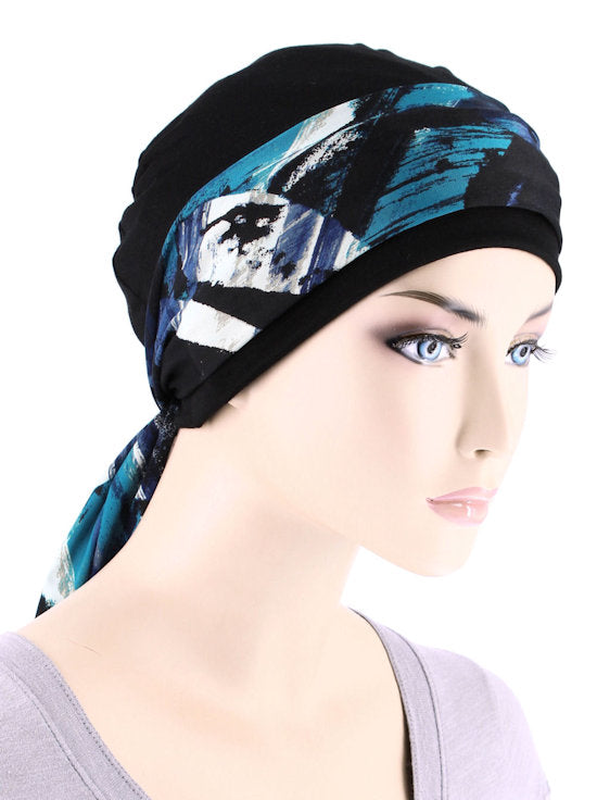 CE-CAPSASH-809#Black Chemo Cap with Ocean Blue Abstract Print Sash
