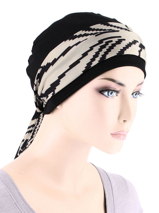 CE-CAPSASH-810#Black Chemo Cap with Taupe Palm Sunrise Print Sash