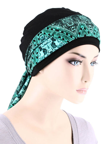 CE-CAPSASH-815#Black Chemo Cap with Green Aztec Forest Print Sash
