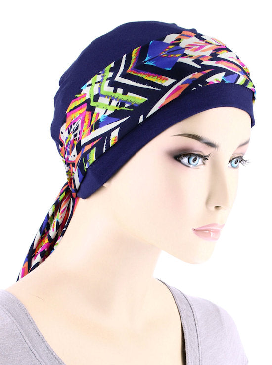 CE-CAPSASH-806#Navy Blue Chemo Cap with Electric Pink Paradise Print Sash