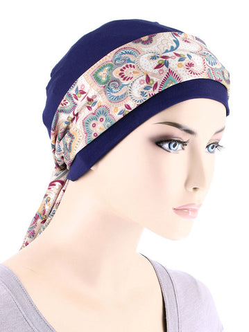 CE-CAPSASH-805#Navy Blue Chemo Cap with Multi Color Paisley Print Sash