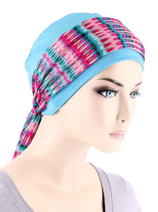CE-CAPSASH-803#Sky Blue Chemo Cap with Hot Pink Tie Dye Stripe Print Sash