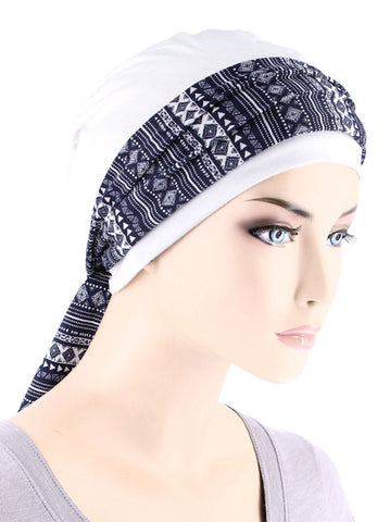 CE-CAPSASH-800#White Chemo Cap with Navy Blue Aztec Print Sash