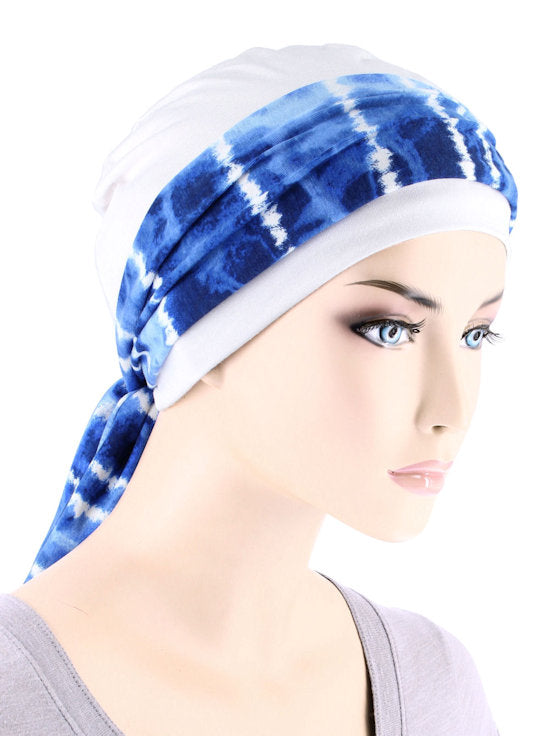 CE-CAPSASH-801#White Chemo Cap with Blue Tie Dye Stripe Print Sash