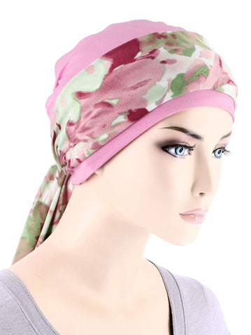CE-CAPSASH-804#Pink Chemo Cap with Watercolor Mauve Floral Print Sash