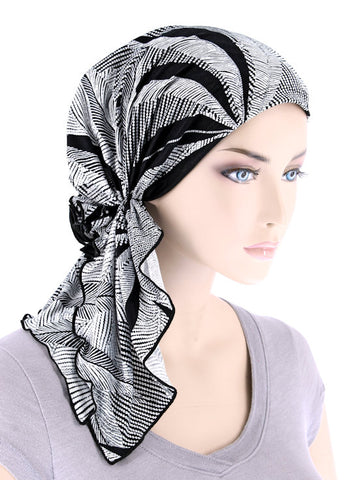 BELLA-773#The Bella Scarf Black White Palm Sunrise