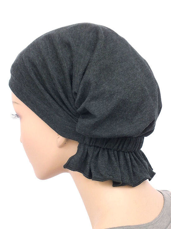 chemo beanie abbey cap in charcoal gray cotton knit 576a