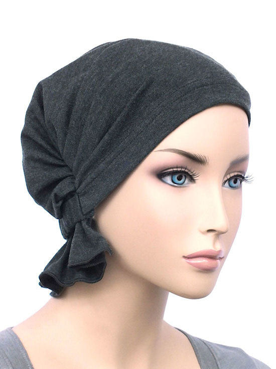 chemo beanie abbey cap in charcoal gray cotton knit 576