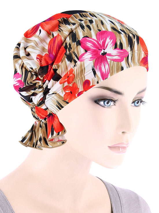 ABBEY-700#The Abbey Cap in Tropical Pink Floral