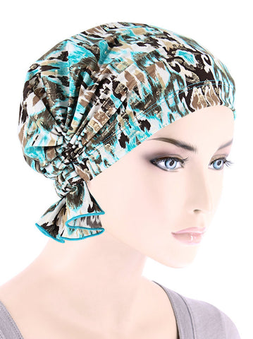 ABBEY-701#The Abbey Cap in Turquoise Gold Leopard Ikat