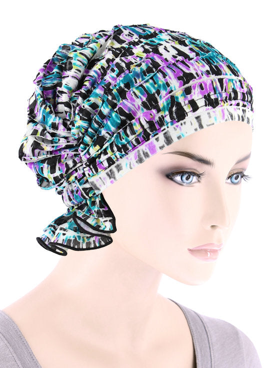 ABBEY-697#The Abbey Cap in Ruffle Purple Turquoise Geometric