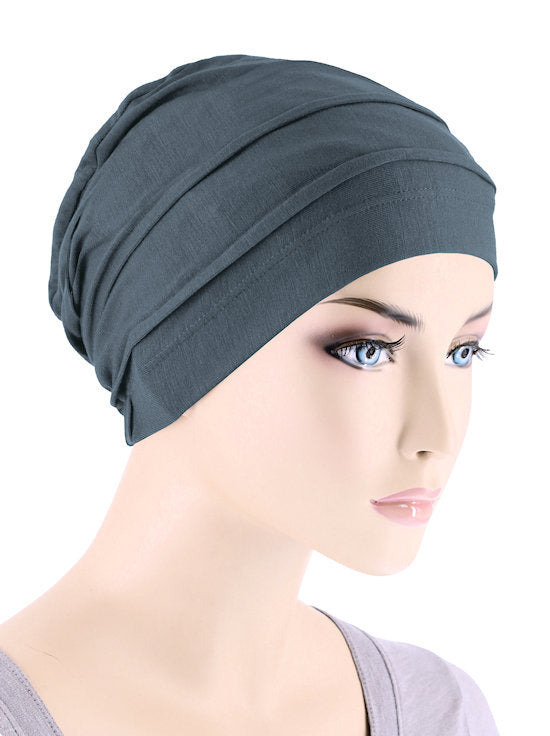 BBPCAP-SLATE#Lux Bamboo Pleated Cap in Slate Gray