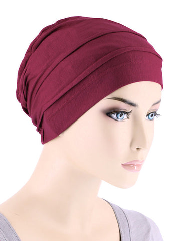 BBPCAP-BURGUNDY#Lux Bamboo Pleated Cap in Burgundy Red