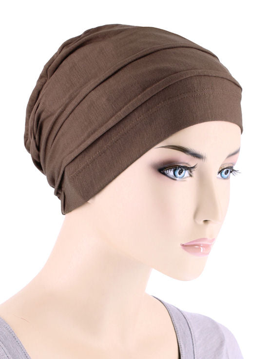 BBPCAP-BROWN#Lux Bamboo Pleated Cap in Cedar Brown