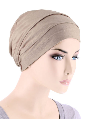 BBPCAP-BEIGE#Lux Bamboo Pleated Cap in Beige