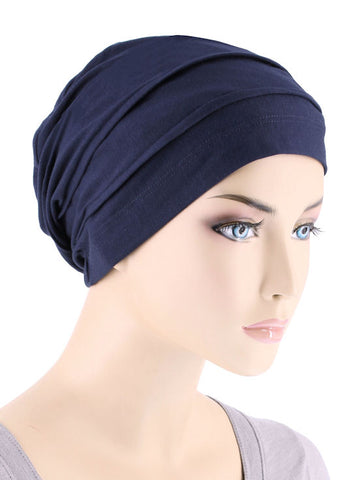 BBPCAP-NAVY#Lux Bamboo Pleated Cap in Navy Blue