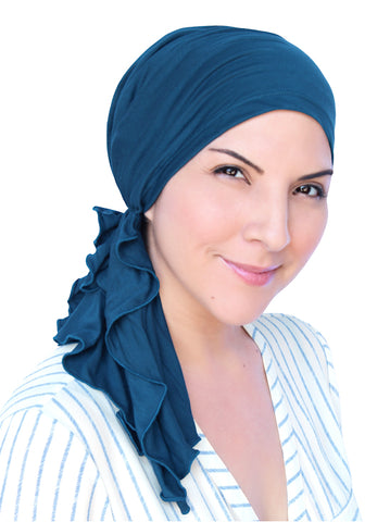 BELLA-BB-792#The Bella Scarf Bamboo Teal Blue