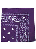 BS-PURPLE#100% Cotton Paisley Bandana Scarf 21 inch Square in Deep Purple