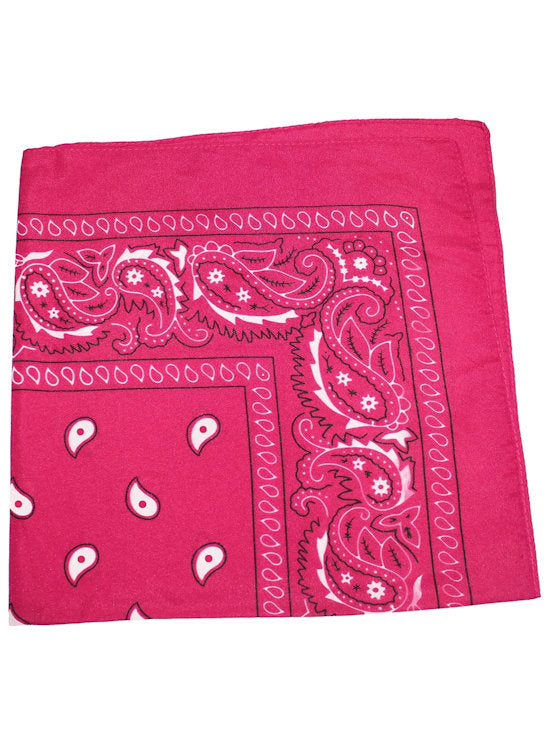 BS-HOTPINK#100% Cotton Paisley Bandana Scarf 21 inch Square in Hot Pink