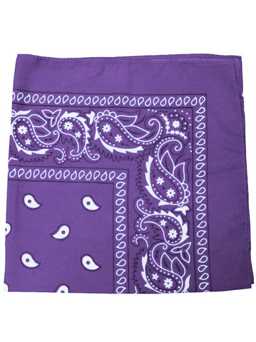 BS-LILAC#100% Cotton Paisley Bandana Scarf 21 inch Square in Light Purple