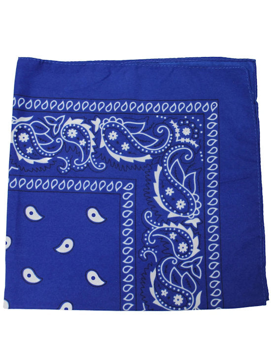 BS-ROYAL#100% Cotton Paisley Bandana Scarf 21 inch Square in Royal Blue