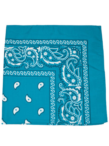 BS-TURQUOISE#100% Cotton Paisley Bandana Scarf 21 inch Square in Turquoise
