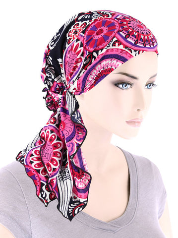 BELLA-776#The Bella Scarf Pink Red Medallion
