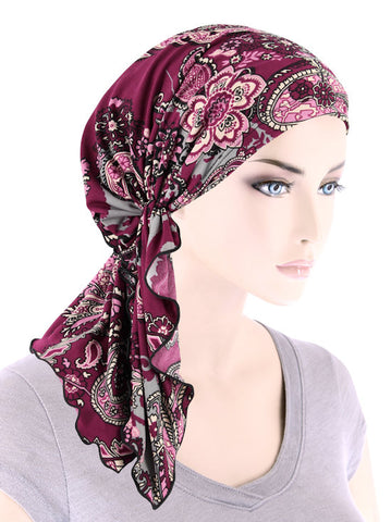 BELLA-786#The Bella Scarf Plum Gray Paisley