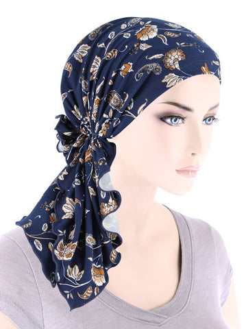 BELLA-787#The Bella Scarf Navy Beige Floral